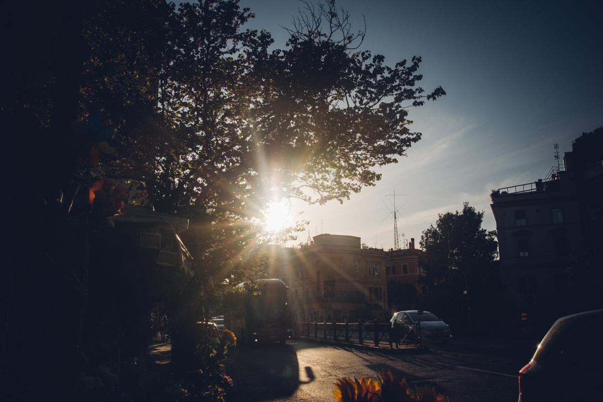 zachód słońca w Rzymie