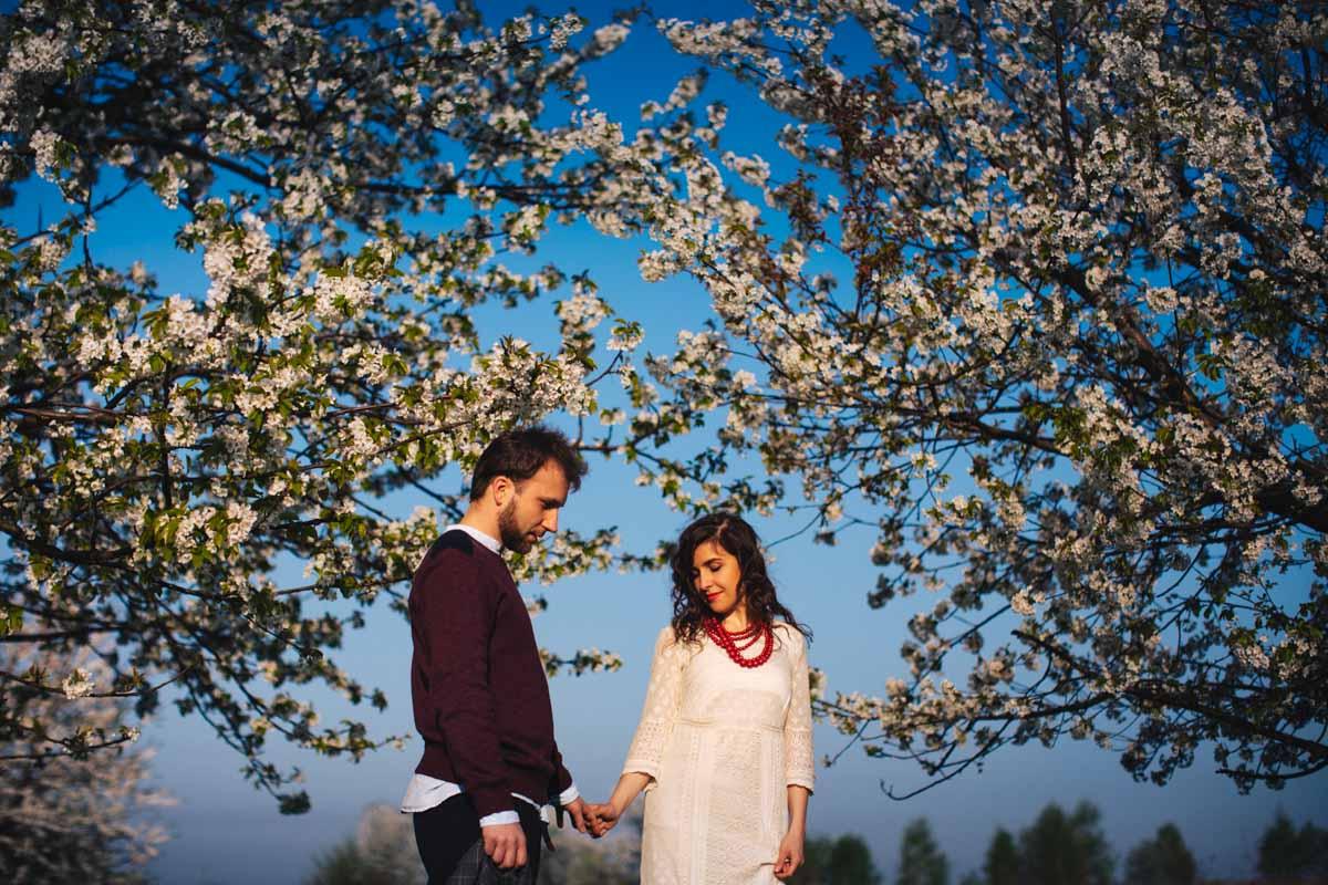 zdjęcia ślubne w sadzie wiśni